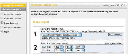 Screenshot of Run Custom Reports