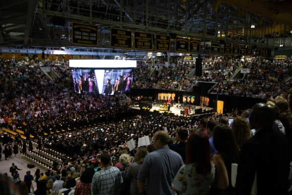 Graduation in the Holmes Convocation Center. Photo by University Communications