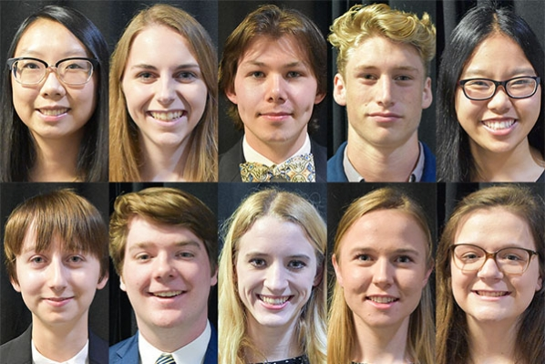 """The 2019–20 recipients of the Chancellor's Scholarship: Lela Arruza, of Apex; Sophie Columbia, of Durham; Capability """"Cape"""" Dickerson, of Rutherfordton; Oliver Dunkin, of Satellite Beach, Florida; Alisa Duong, of Charlotte; Samantha """"Sam"""" Froese, of Cary; Aidan Keaveney, of Durham; Amelia Rhodes, of Winston-Salem; Gabriela """"Gigi"""" Upchurch, of Denton, Texas and Lily Vowels, of Elizabethtown, Kentucky."""