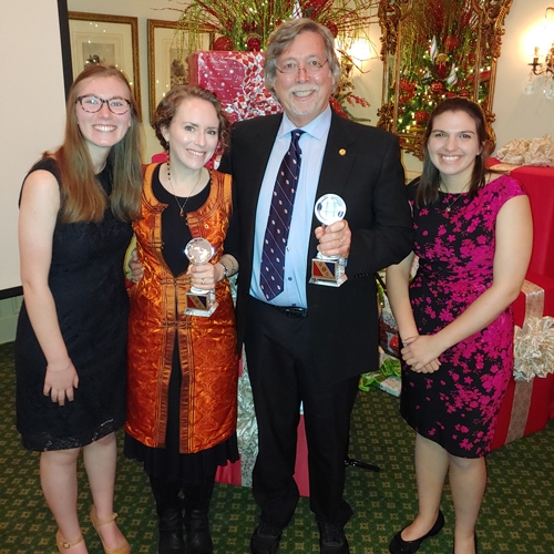 The team receiving the Expedition of the Year award in Atlanta, G.A..  From left: Olivia Paschall, a senior geology major from Grand Rapids, Michigan; Dr. Sarah Carmichael (associate professor of geology, PI, expedition leader); Dr. Johnny Waters (professor emeritus in Geology, co-PI, expedition co-leader) and Allison Dombrowski, a junio geology major from Raleigh. Photo submitted.
