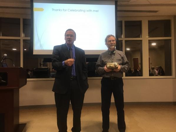 Dr. Rene Harder Horst receiving the Distniguished Professor Award of History