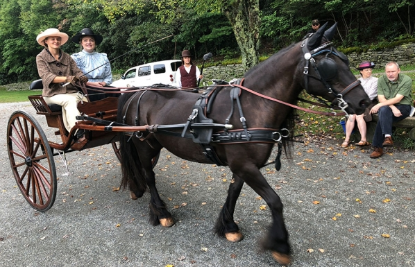The horse and carriage pictured here, which appear in the documentary, were provided by Mimosa Hills Farm in Morganton. The carriage is driven by farm owner Crosby Reed. Students from Dr. Derek Davidson's theater class volunteered as actors for the film, including Appalachian alumna Elizabeth Mason Moore '19, who graduated with a B.A. in theatre education in May and is pictured right of Reed. Dalton Forster, a junior theatre arts major from Garner, pictured center in background, holds a boom microphone. Pho