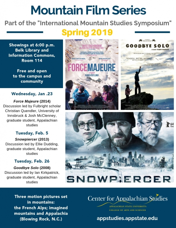 Mountain Film Series Poster with images of the 3 films: Force Majeure, Snowpiercer and Goodbye Solo.