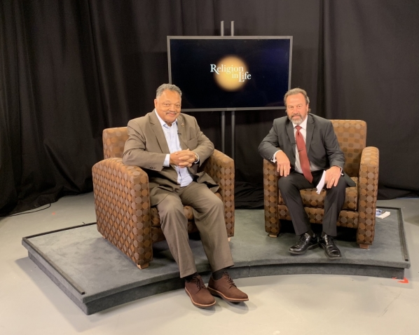 "Dr. Ozzie Ostwalt, Professor of Philosophy and Religion on the set of his AppTV program, ""Religion in Life"