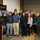 The Department of Computer Science graduate and undergraduate students honored at the departmental graduation celebration fall 2018. Front row left to right: Kevin Hu, Eric Cambel, Courtney Dixon, Erin Stein, and Dean Specht Second row left to right: Dr. Tashakkori, Francis Boadu, Braxton Coats, Cristian Gulisano, Chase Costner, Evangeline Luciano, and Owen Dowell Last Row left to right: Sebastian Collins and Jarod Moore.