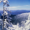 Great Smoky Mountains National Park as seen in a winter photograph taken after a heavy frost. Photo courtesy of Great Smoky Mountains National Park