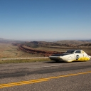 Team Sunergy's Cruiser Class vehicle, ROSE, is designed to look and feel like a car consumers will drive in the future. This photo, of ROSE climbing a steep mountain on the way from Wyoming to Oregon, was taken by supporting staff member Chase Reynolds and won the National Park Service photo competition, held in conjunction with the American Solar Challenge. Photo by Chase Reynolds