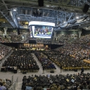 During the College of Arts and Sciences' commencement ceremony Saturday afternoon, graduates and their families and friends, along with Appalachian faculty, staff and leadership, fill the university's Holmes Convocation Center. Photo by Marie Freeman