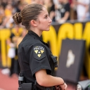 Appalachian State University junior Madison Cook, from Apex, provides security coverage at a Mountaineers football game. She is a graduate of the Appalachian Police Academy, part of the university's Appalachian Police Development Program, which was created to equip Appalachian students with the knowledge, skills and training to become law enforcement officers. Photo by Marie Freeman