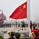 Soldiers raise the flag for the National Day at the Tian'anmen Square in Beijing, October 1, 2017  Source: Xinhua