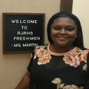Appalachian Alumna Lacy Martin outside her classroom at R. J. Reynolds High School in Winston-Salem, N.C. photo submitted.