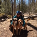 Breece Robertson '00 on the Colorado Trail near Mount Shavano with her dogs Ellie and Maple.