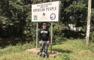 Lane Bailey '87 '89 stands just outside Kilosa Township, which is located in the Kilosa District in the Morogoro Region of Tanzania. Bailey, who is city manager of Salisbury, traveled to Tanzania as part of the International City/County Management Association's ENGINE Program. Photo submitted