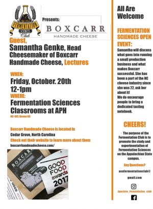 Samantha Genke, Head Cheesemaker of Boxcarr Handmade Cheese, Lectures