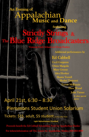 Fundraising Concert for Appalachian Studies E.J. Cabbell Scholarship to feature local band Strictly Strings and The Blue Ridge Broadcasters