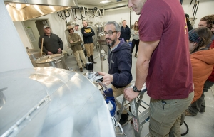 As part of the Brewing Science and Analysis course offered in the fermentation sciences degree program, students learn about brewing beer from Dr. Brett Taubman in the department's brewing lab. Photo by Marie Freeman
