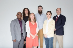 The research of four additional Innovation Scholars and their collaborators was funded by Appalachian State University's Research Institute for Environment, Energy, and Economics (RIEEE) and the College of Arts and Sciences. They are, from left: Dr. Nathan Mowa, Dr. Suzanna Brauer, Grace Plummer, Kevin Gamble, Hei-Young Kim and Dr. Steve Seagle. Photo by Marie Freeman