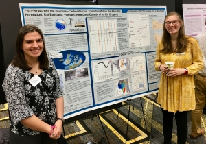 Olivia Paschall and Allison Dombrowski, presenting their co-authored poster from the American Geophysical Union Annual Meeting at Appalachian Celebration of Student Research and Creative Endeavors event in 2018.