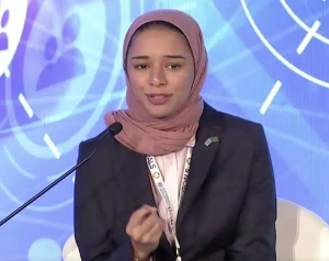 Razan Farhan Alaqil speaks at the MiSK-UNDP Youth Forum 2017, held in September in New York City. Photo submitted
