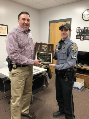 """Cpl. Matt Taylor was recently picked by the command staff at the Caldwell County Sheriff's Office to receive the """"2017 Employee of the Year"""" award."""