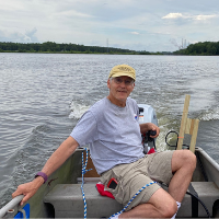 Keith Seramur, senior research associate, Geological and Environmental Sciences, at Hypo Lake collecting sediment cores. Photo submitted.