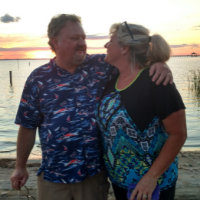 R. Lee Hawkins, observatory engineer in the Department of Physics and Astronomy, with his wife Robin at the Outer Banks. Photo submitted.
