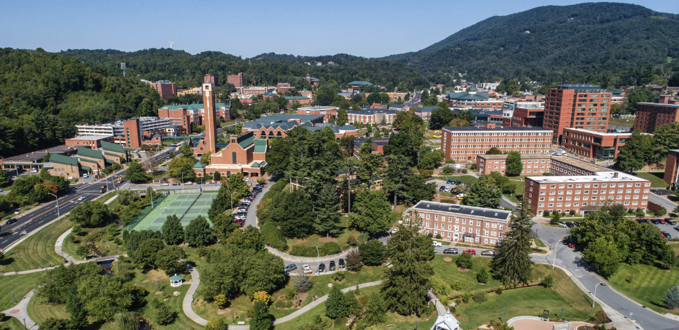 Aerial view of App State Campus in Boone