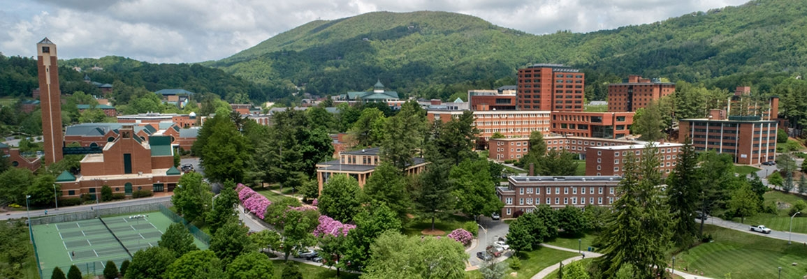 Spring aerial view of App State campus
