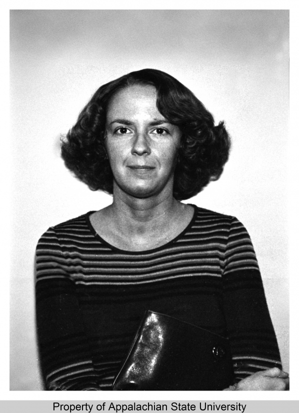 Ann Page, an instructor in the Department of Sociology and Anthropology in the College of Arts and Sciences at Appalachian State University (1967-2009) for 1978-79. University Archives.
