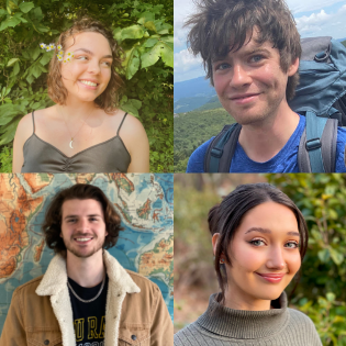 Caroline Fehlman, Andrew Bagwell, Nicholas Gastelle and Caity Duncan, student climate change researchers
