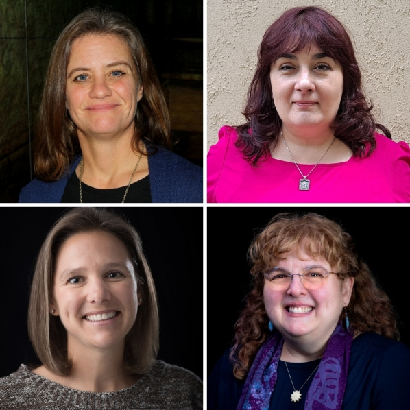 Top left (clockwise): Dr. Krista Lewis (photo submitted), Dr. Petia Bobadova (photo submitted), Dr. Cynthia M. Liutkus-Pierce (photo by University Communications) and Dr. Laura Ammon (photo by University Communications).