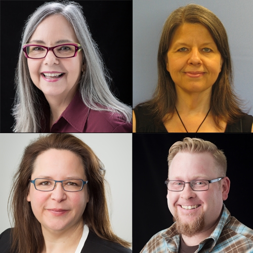 Top left, clockwise: Dr. Tammy Wahpeconiah, Interim Chair, Department of English; Dr. Rose Mary Webb, Chair, Dr. Wiley F. Smith Department of Psychology; Dr. Cameron Lippard, Interim Chair, Department of Sociology and Dr. Jennifer L. Burris, Chair of the Department of Physics and Astronomy.
