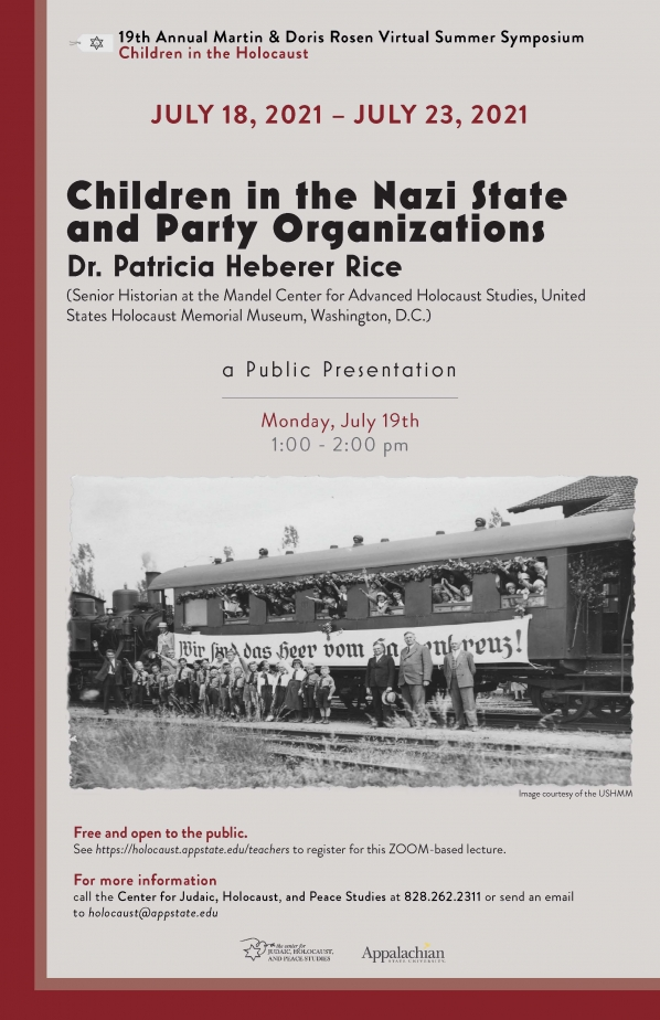 """Poster for the """"Children in the Nazi State and Party Organizations"""" event. Graphic submitted."""