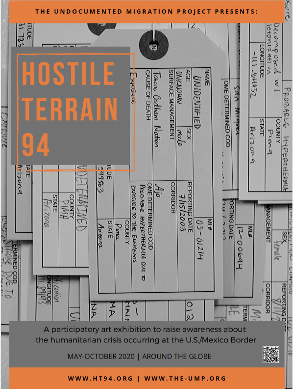 Photo of Hostile Terrain 94 (HT94), a participatory art exhibition sponsored and organized by the Undocumented Migration Project (UMP). Photo submitted.