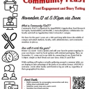 The AppalFRESH Collaborative hosts Community FEaST (Food Engagement and StoryTelling) virtual this year. Flyer with details about the event.