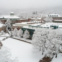 Appalachian State University's Office of Research awarded four faculty teams with a 2020 Scholarship of Diversity, Equity and Inclusion Grant. These grants support the university's focus on creating a culture of inclusive excellence. Pictured is an aerial view of the App State campus covered in snow during January. Photo by Marie Freeman