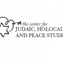 Center graphic depicting a dove with an olive branch and the star of david