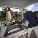 Dr. Baker Perry, professor in Appalachian's Department of Geography and Planning, rings Appalachian State University's Founders Bell during the university's Founders Day celebration, Sept. 3. Perry was inducted into the 2020 class of Appalachian's Bell Ringers Society. Photo by Marie Freeman