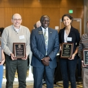 Dr. Jesse Lutabingwa, Appalachian's associate vice chancellor of international education and development, director of international research and development and professor of public administration, center, with four recipients of Appalachian's 2019 Global Leadership Awards at the awards luncheon held on campus Nov. 20 as part of the university's annual Appalachian Global Symposium. Pictured with Lutabingwa, from left to right, are Megan Aeschleman, a senior middle grades education major from Oak Park, Illino