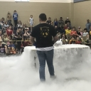 Lucian Murray, a PandA member, leads a physics demonstration with liquid nitrogen at a Buildfest event. Photo submitted.