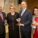 Appalachian Chancellor Sheri Everts, second from left, with the inaugural winners of the Chancellor's Awards for Inclusive Excellence: Rabbi Stephen Roberts, spiritual leader of the Temple of the High Country, far left; Watauga County Schools Superintendent Scott Elliott, who represented the school district's Coffee Talk program, second from right; and Dr. Claudia Cartaya-Marin, professor in and chair of Appalachian's A.R. Smith Department of Chemistry and Fermentation Sciences, far right. Photo by Marie Fr