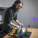 ack Griffin, a senior from Waxhaw majoring in physics at Appalachian, works to develop a demonstration laser. Photo by Marie Freeman