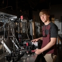 Nathaniel Scott, an Appalachian junior majoring in physics, received a North Carolina Space Grant Scholarship to continue his research in automation. Photo by Marie Freeman