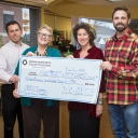 Presenting a check to Appalachian State University from the North Carolina Chapter of the American Foundation for Suicide Prevention (AFSP) is Betsy Rhodes, second from left. With her are, from left, Appalachian's Dr. Chris Hogan, director of Counseling and Psychological Services, psychologist Dr. Denise Lovin and psychology professor Dr. Kurt Michael. Since the check presentation Dec. 6, the organization has provided an additional gift bringing its support for suicide prevention training at Appalachian to