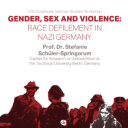 "A poster for the ""Gender, Sex and Violence"" online lecture by Stefanie Schueler-Springorum. Graphic submitted."