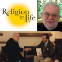 """The """"Religion in Life"""" logo and photos of the show's host, Dr. Ozzie Ostwalt, professor of philosophy and religion and interim director of Appalachian Studies, and Jim Wallis, author and founder of Sojourners Magazine."""