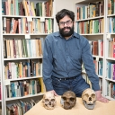 Appalachian State University's Dr. Marc Kissel, with model skulls. Photo by Marie Freeman