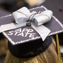 Photo of App State student's graduation cap at Commencement. Photo by University Communications.