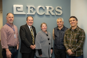 Pictured left to right: Mark Noble, Vice President of Development, ECRS; Dr. Randy Edwards, Vice Chancellor of University Advancement, ASU; Dr. Neva J. Specht, Dean, College of Arts and Sciences, ASU; Dr. Rahman Tashakkori, Chair of Computer Science, ASU and Pete Catoe, Founder, CEO and President, ECRS. Photo by Ellen Gwin Burnette