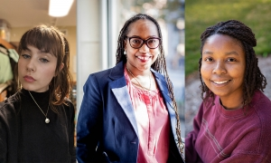 2020-21 Truman Capote Literary Trust Creative Writing Scholarship winner, judge and runner-up. Left to right: Victoria Goff (photo submitted), author Jacinta White (photo submitted) and Jay Phillips (photo by Ellen Gwin Burnette).